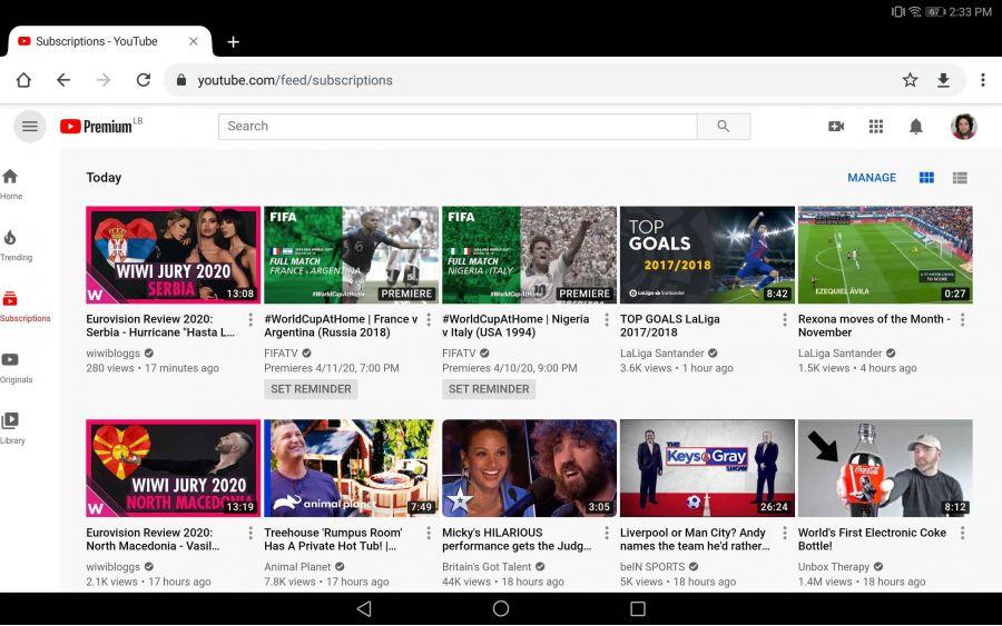 YouTube адаптировал свой сайт для планшетов